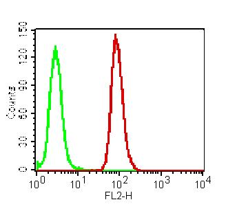 Figure-4: Intracellular flow cytometric analysis of RIG-I in K562 Cell line using 0.5 µg/10^6 cells of Anti-RIGI antibody (ABM4H29). Green represent isotype control and red represent Anti-RIG I antibody (10-4121 Abeomics). Goat anti-mouse PE conjugate was used as secondary.