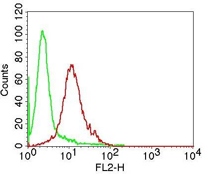Fig-2: Intra cellular flow analysis of IkB alpha in Hela using 0.5 µg/10^6 cells of antibody (Clone: ABM10F4). Green represents isotype control; red represents anti-IkB alpha antibody. Goat anti-mouse PE conjugate was used as secondary antibody.