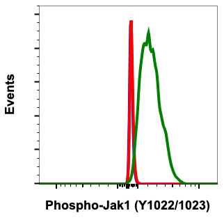 Fig 2 : Flow cytometric analysis of C2C12 cells secondary antibody only negative control (blue) or treated with imatinib (red) or with pervanadate (green) using Phospho-Jak1 (Tyr1022/1023) antibody Jak1Y10221023-F11 at 0.01µg/mL.