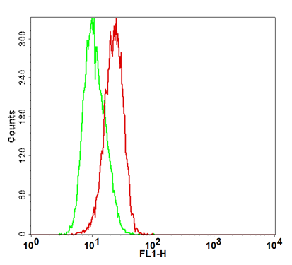 Fig-1: Detection of human ICOS in the CHO-K1/ICOS stable cell line by Flow Cytometry [Cell surface staining]. CHO-K1 cells (Green); CHO-K1/ICOS cells (Red).