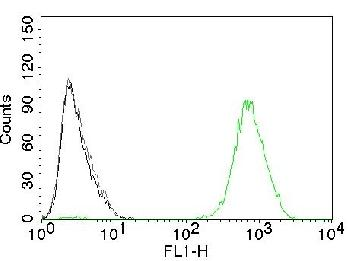 Fig. 1: Flow Cytometry of human EGFR on A431 cells. Black: cells alone; Grey: Isotype Control; Green: CF488-labeled EGFR Monoclonal Antibody (GFR450).