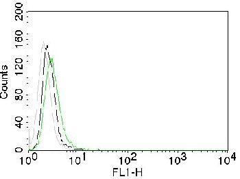 Fig. 2: Flow Cytometry of EGFR on Mouse NIH/3T3 cells. Black: cells alone; Grey: Isotype Control; Green: CF488-labeled EGFR Monoclonal Antibody (GFR450).