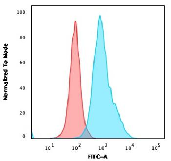 Fig. 3: Flow Cytometric Analysis of Ramos cells using CD10 Mouse Monoclonal Antibody (MME/1620) followed by goat anti-Mouse IgG-CF488 (Blue); Isotype control (Red).