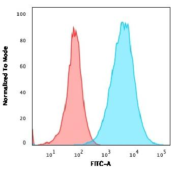 Fig. 4: Flow Cytometric Analysis of A549 cells using S100A4 Recombinant Rabbit Monoclonal Antibody (S100A4/2750R) followed by goat anti-rabbit IgG-CF488 (Blue); Isotype Control (Red).