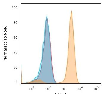 Fig. 2: Flow Cytometric Analysis of human Jurkat cells using CD71 Mouse Monoclonal antibody (DF1513) followed by Goat anti-Mouse IgG-CF488 (Orange); cells alone (Blue); Isotype Control (Red).