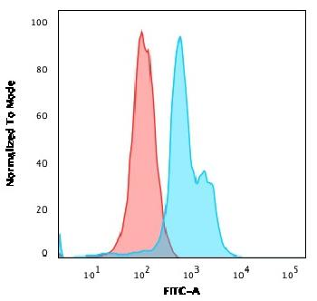 Fig. 2: Flow Cytometric Analysis of MOLT-4 cells. CD6 Mouse Monoclonal Antibody (SPV-L14) followed by Goat anti-Mouse IgG-CF488 (Blue); Isotype control (Red).
