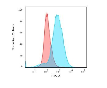 Fig. 2: Flow Cytometric Analysis of paraformaldehyde-fixed Jurkat cells using CD28 Mouse Monoclonal Antibody (CB28) followed by goat anti-Mouse IgG-CF488 (Blue); Isotype control (Red).