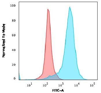 Fig. 2: Flow Cytometric Analysis of PFA-fixed U87MG cells. CD63 Mouse Monoclonal Antibody (529) followed by goat anti-Mouse IgG-CF488 (Blue); Isotype Control (Red).